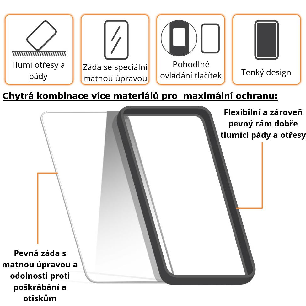 Vlastnosti obalu Shadow Hybrid, černý odolný obal s matnou úpravou pro Apple iPhone 5c.
