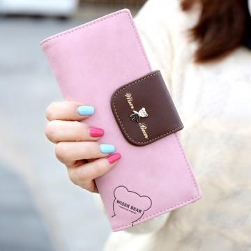 Wiser Bear - Růžová peněženka
