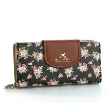Flower Čierna - peňaženka