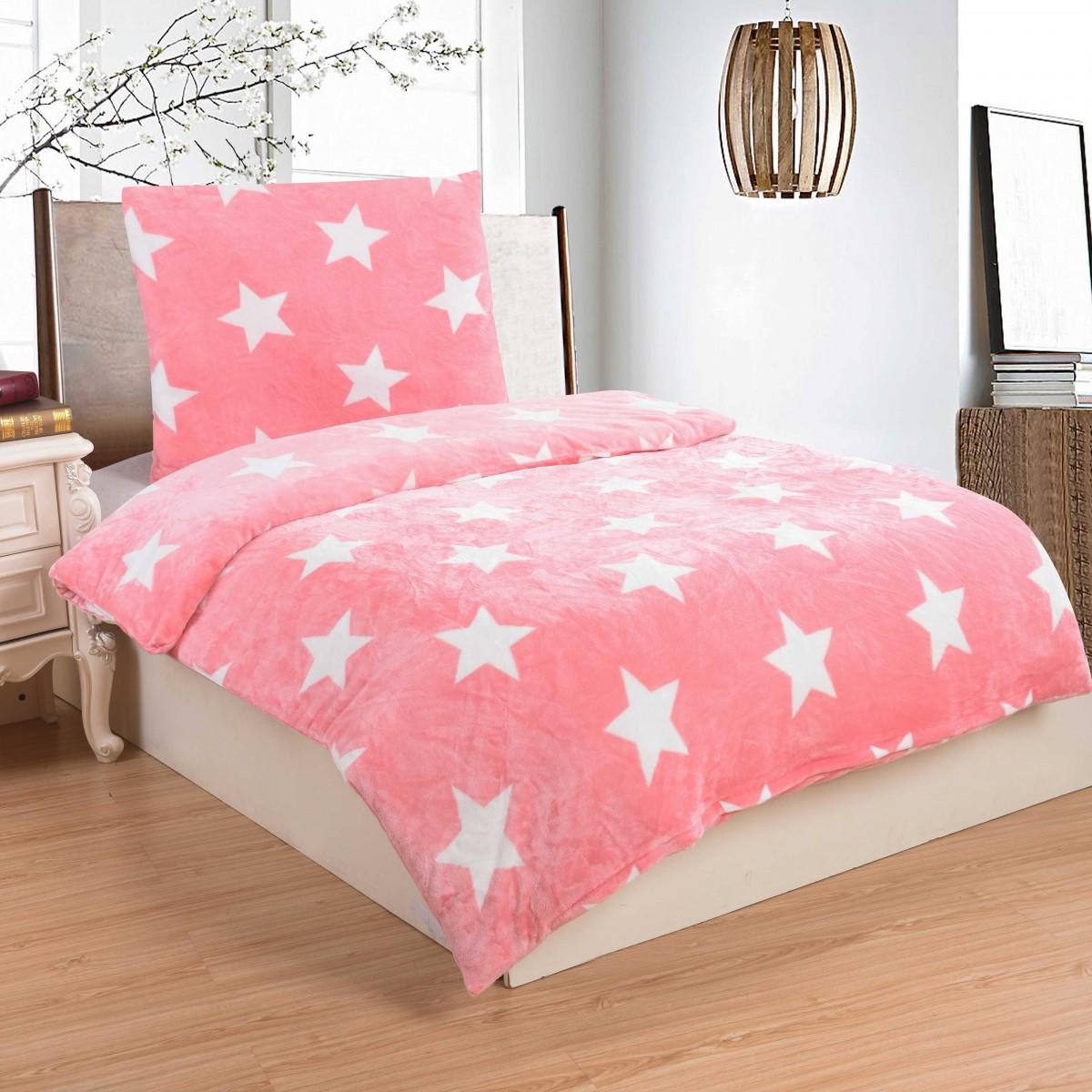 Povlečení mikroplyš na jednolůžko - Stars pink