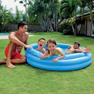 Kruhový bazén s tromi nafukovacími prstencami - Modrý (147cm)