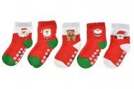 Dětské ponožky s protiskluzovou podrážkou AURAVIA - 5 páru, mix motivů, velikost 14-14.5 (0-12m)