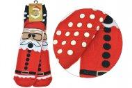 Dámské teplé ponožky s protiskluzovou podrážkou TURKEY - 1 pár, Santa, velikost 39-42