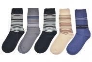 Pánské ponožky DENI MELI - 5 párů, mix barev, proužkaté, velikost 43-46