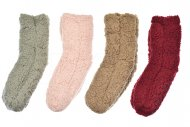 Dámské hřejivé domácí ponožky s protiskluzovou podrážkou VIRGINA - 1 pár, mix barev, velikost 35-38