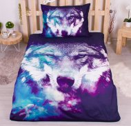 3D povlečení 140x200 + 70x90 - Blue Wolf