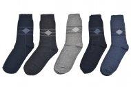 Pánské bavlněné ponožky TURKEY - 5 párů, mix barev, kosočtverec s pruhy, velikost 40-43
