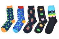 Pánské ponožky s obrázky AURAVIA - 5 párů, velikost 43-46