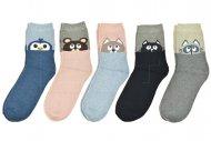 Dámské bambusové ponožky se zvířátkem AURAVIA - 5 párů, mix barev, velikost 38-41