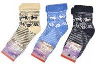 Dámské termo zdravotní ponožky ALJAŠKA - 3 páry, se sobem a vločkou, mix barev, velikost 35-38