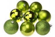 Vánoční koule na stromeček FLORA (8cm) 8ks - Zelené