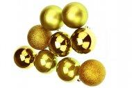 Vánoční koule na stromeček FLORA (6cm) 9ks - Zlaté