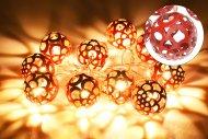 Svítící koule na baterie DECORATIVE 10LED (160x4cm) - Červené, teplá bílá