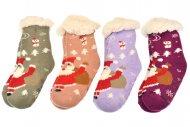 Dětské hřejivé domácí ponožky s protiskluzovou podrážkou - 1 pár, mix barev, velikost 32-35