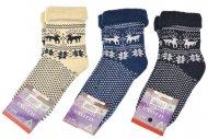 Dámské termo zdravotní ponožky ALJAŠKA - 3 páry, se sobem a vločkou, mix barev, velikost 39-42