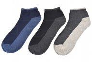 Kotníkové termo ponožky LOOKEN - 3 páry, mix barev, WALKING, velikost 43-46