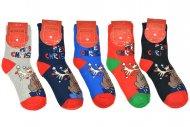 Dámské termo ponožky AURAVIA - 5 párů, vánoční motivy, velikost 35-38
