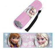 Dětská hliníková LED baterka Ledové Království RŮŽOVÁ