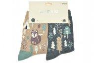 Dámské ponožky s liškou AURAVIA - 2 páry, mix motivů, velikost 35-38