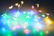 Svítící LED hvězdičky na baterie (205cm) 40 diod - Multi barevné
