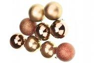 Vánoční koule na stromeček FLORA (6cm) 9ks - Bronzové