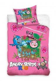 Povlečení Angry Birds Rio růžová 140/200 + 70/80
